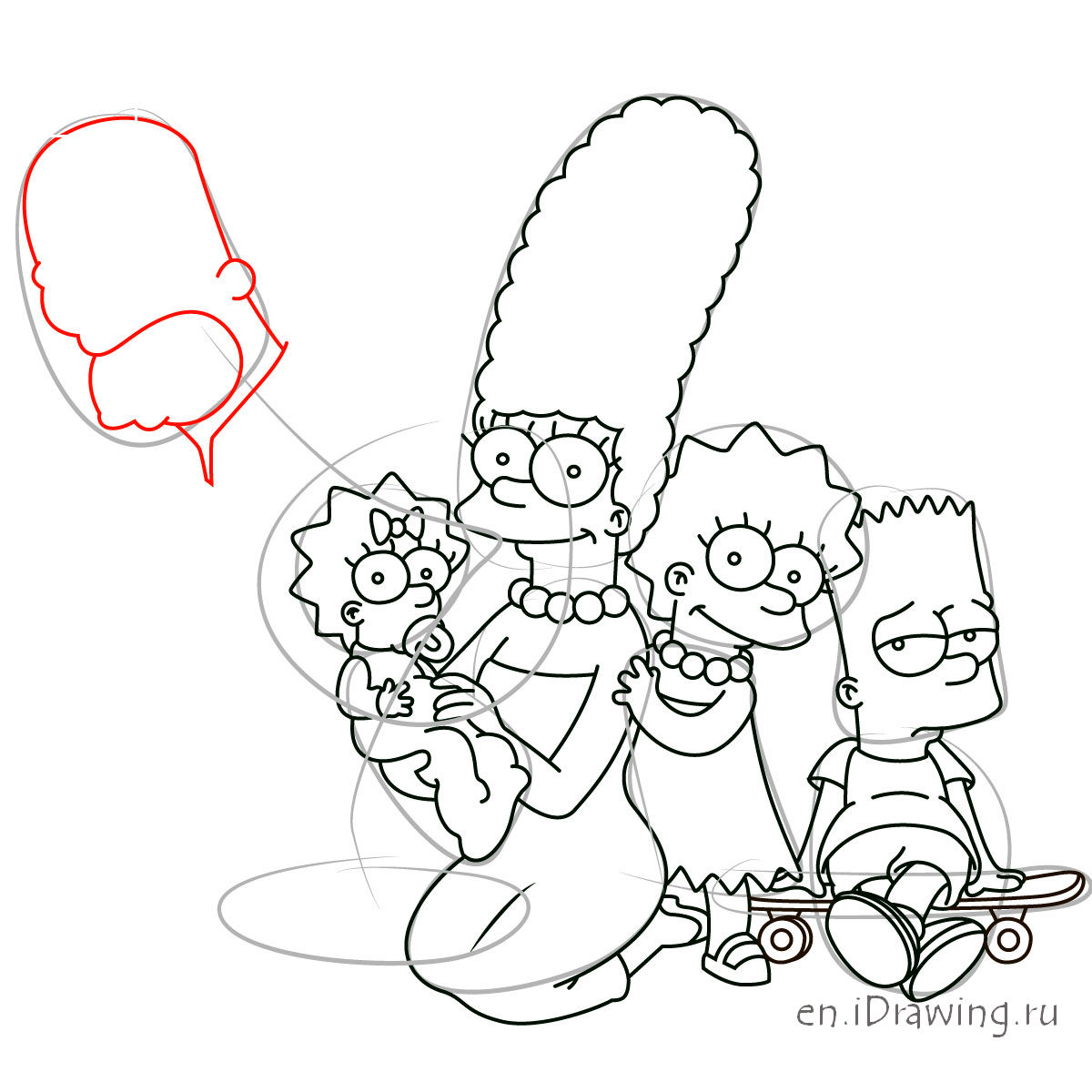 1200x1200 How To Draw The Simpsons Family