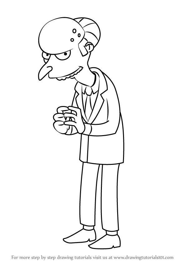 597x844 Learn How To Draw Charles Montgomery Burns From The Simpsons (The