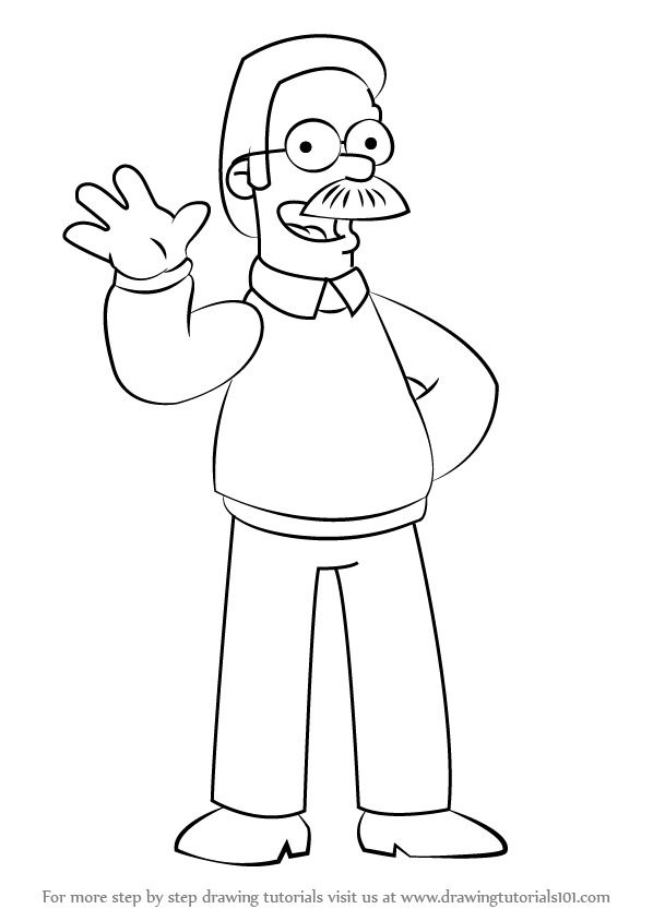598x844 Learn How To Draw Ned Flanders From The Simpsons (The Simpsons