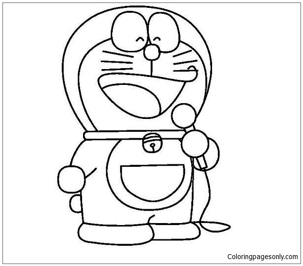 613x539 Doraemon Sing A Song Coloring Page
