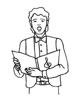 300x371 Choral Boy Singer Coloring Page
