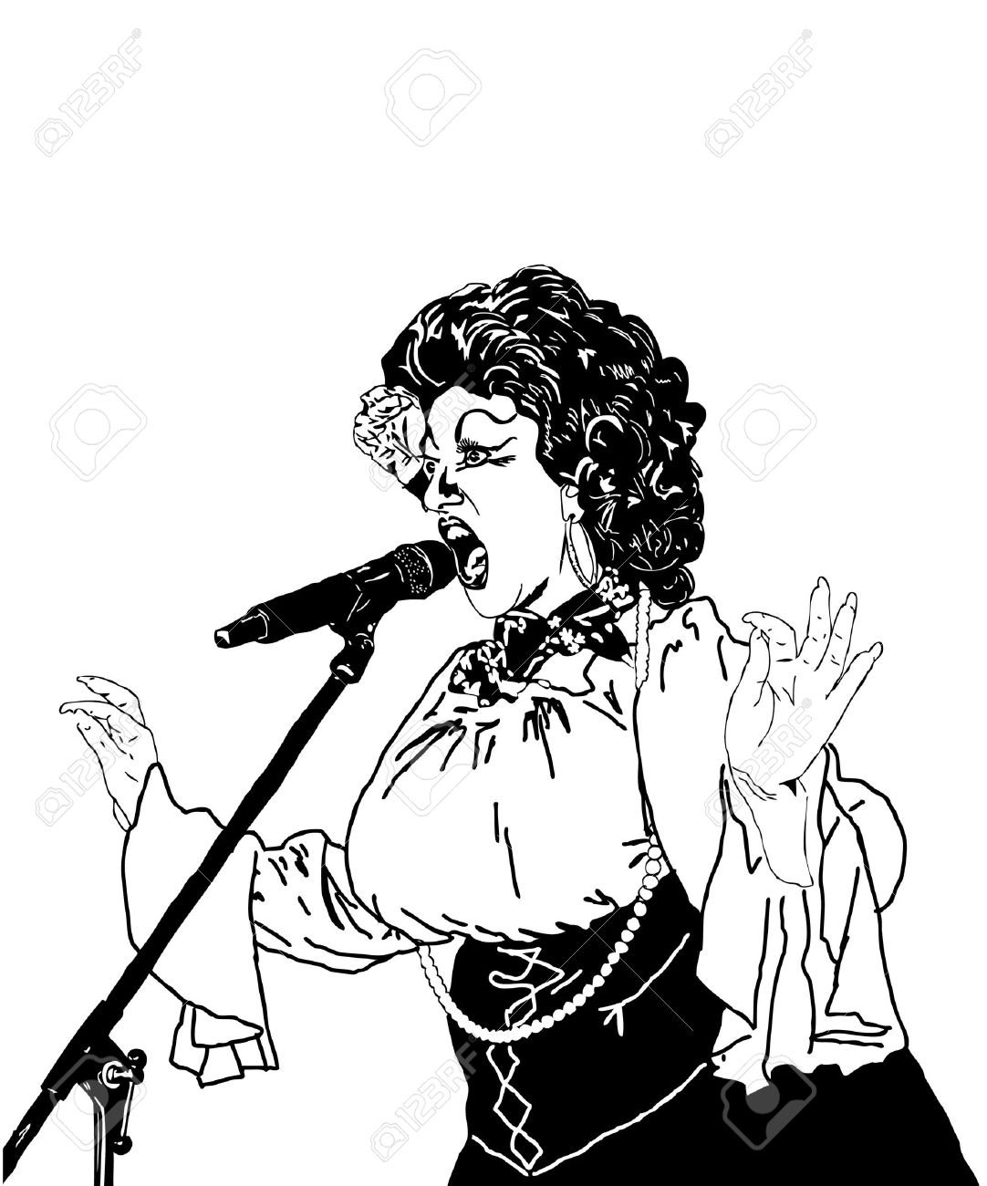 1082x1300 Black And White Picture Actress Singer At The Microphone Royalty