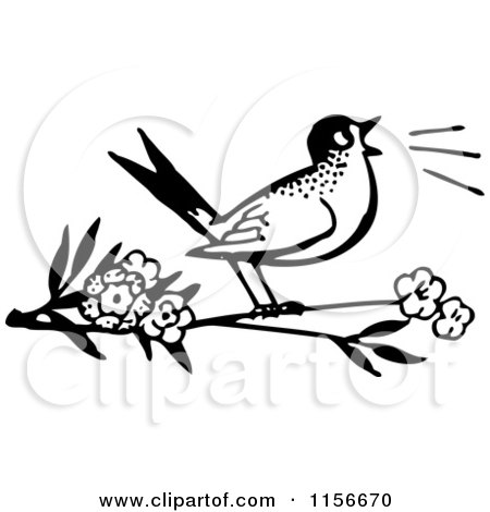 450x470 Clipart Of A Black And White Retro Bird Feeding Chicks A Worm