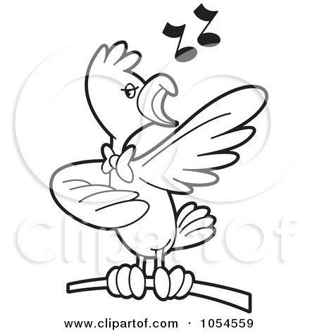 450x470 Royalty Free Vector Clip Art Illustration Of An Outlined Singing