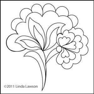 300x300 Jacobean Single Flower Linda Lawson Digitized Quilting Designs