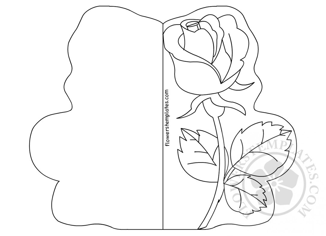 1088x787 Single Rose Card Coloring Page Flowers Templates