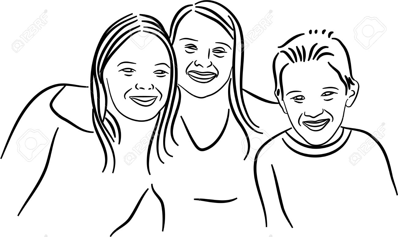 1300x773 Simple Line Drawing Of Two Sisters And A Brother Posing Together