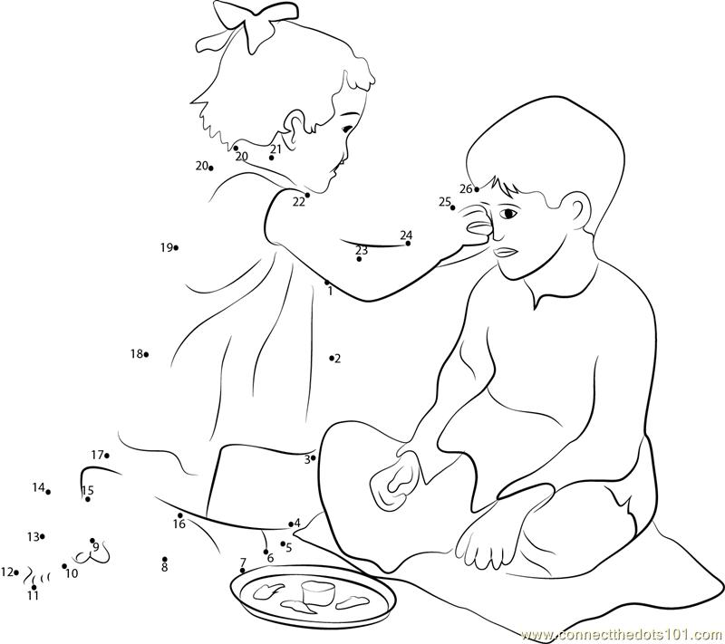 800x711 Bhai Dooj Reflection Of Brother Sister Love Dot To Dot Printable