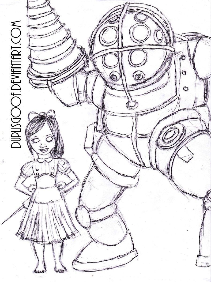 900x1203 Bioshock Big Sister Drawing