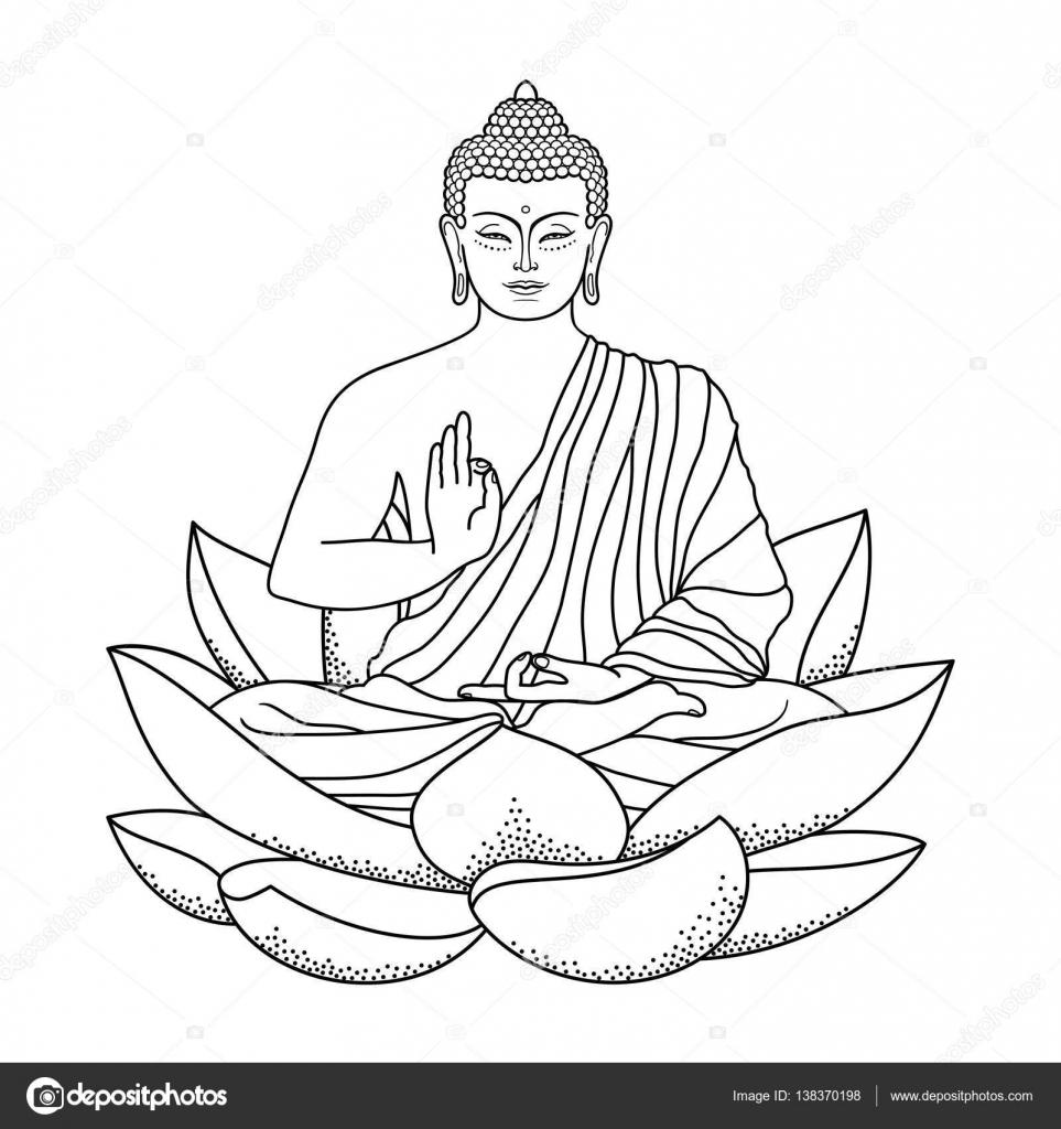 963x1024 Buddha Sitting On Lotus Stock Vector Kronalux