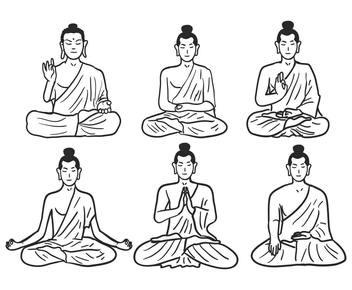1136x936 Buddhist Pose Sketch Vector Set Vector Art Amp Graphics