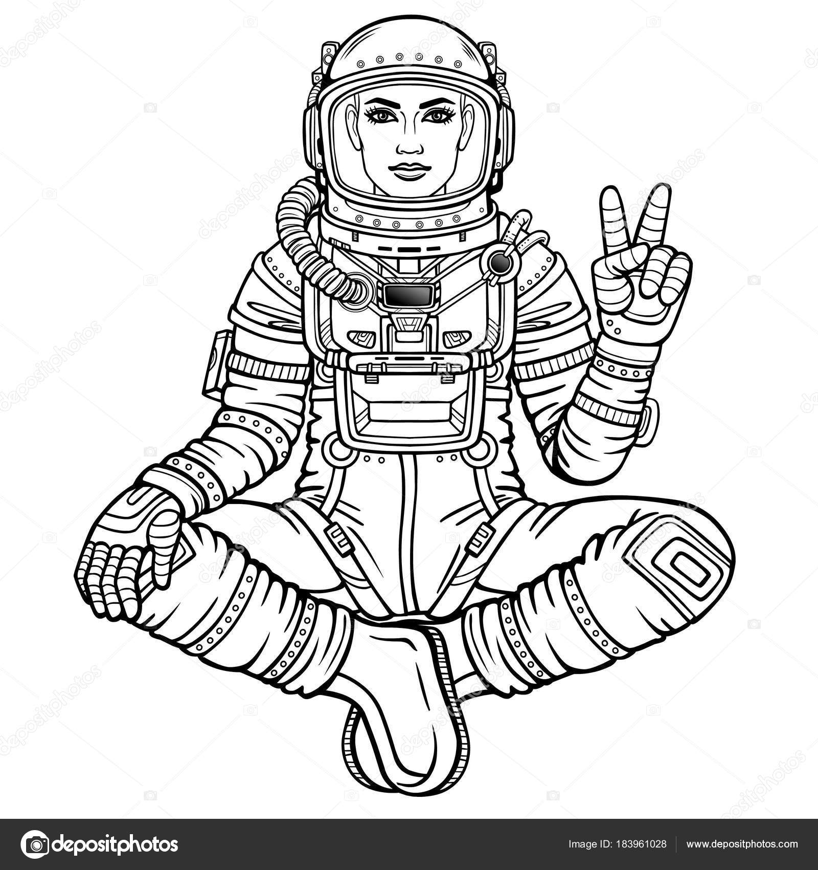 1600x1700 Animation Figure Woman Astronaut Sitting Buddha Pose Meditation