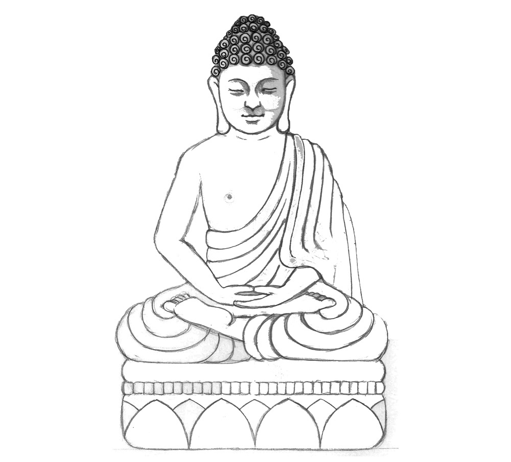 1000x905 Sandstone Buddha Drawing Drawn, Re Drawn And Photocopied,