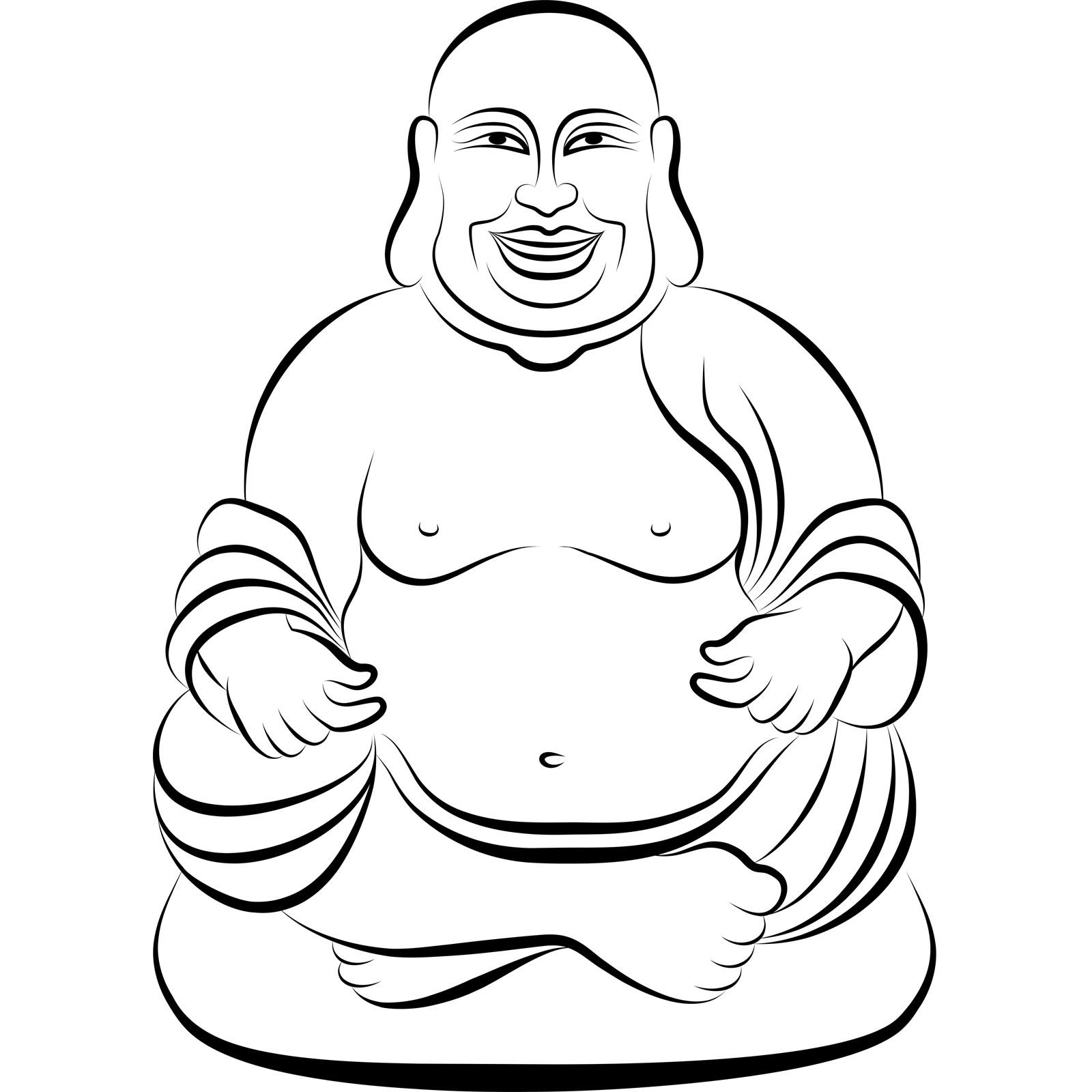 1600x1600 Sitting Buddha 2 Wall Sticker