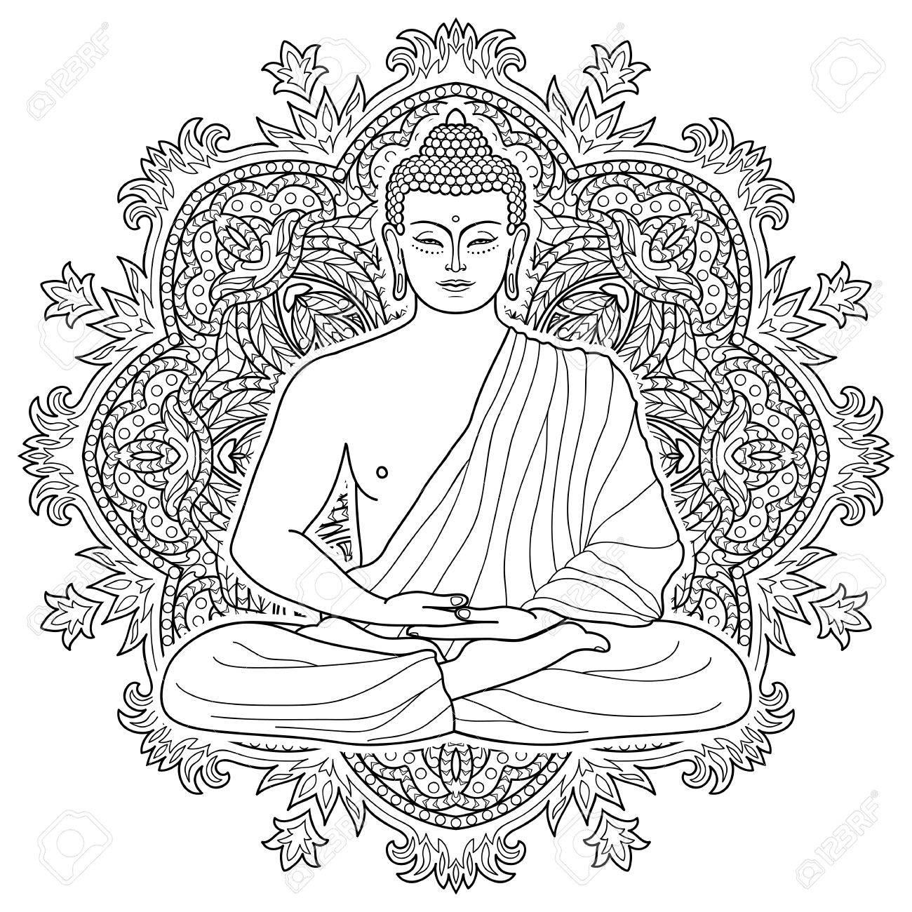 1300x1300 Sitting Buddha In Lotus Position On Mandala Round Background