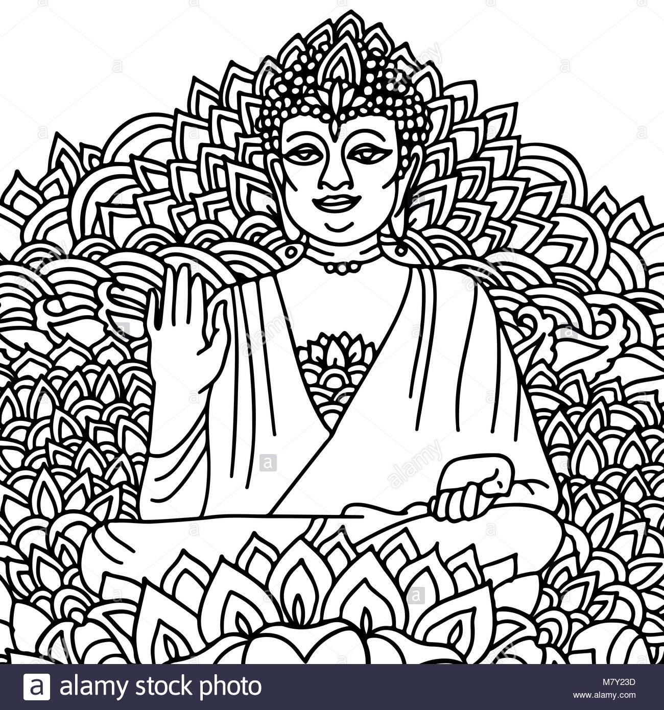1300x1390 Sitting Buddha Stock Vector Images