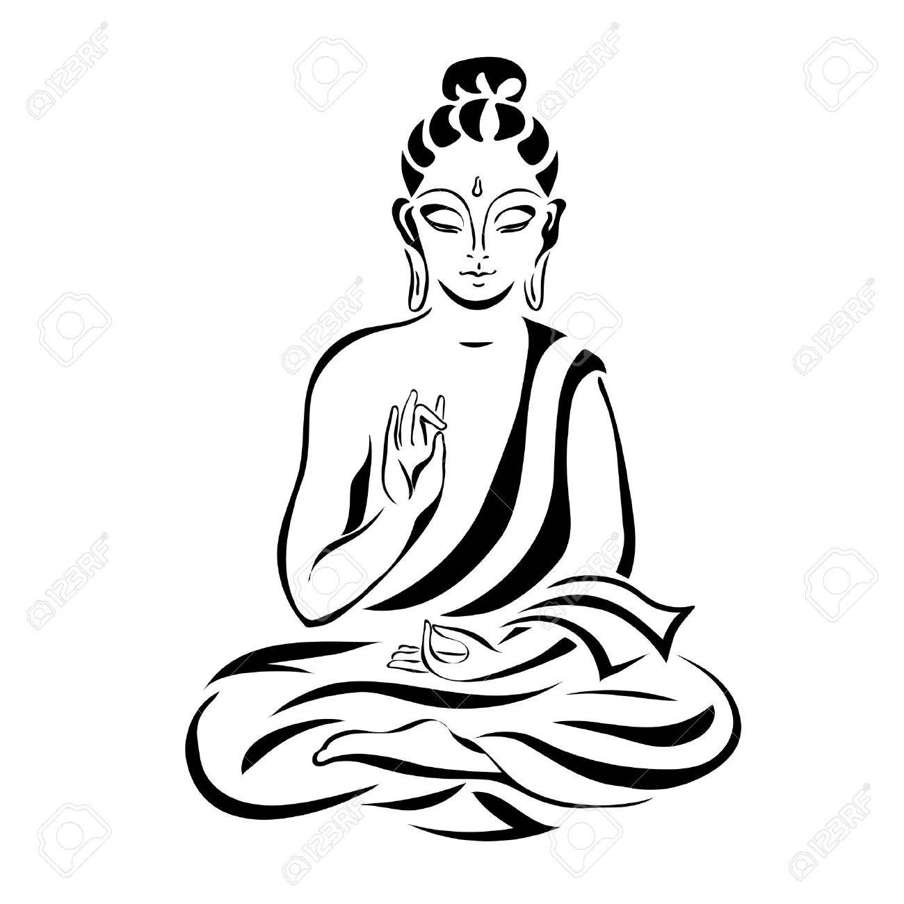 1300x1300 Buddha In The Lotus Position. Black Outlines Isolated On White