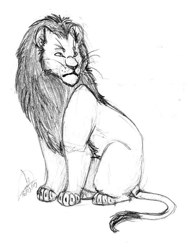 600x781 Semi Realistic Sitting Lion By Hamlichan