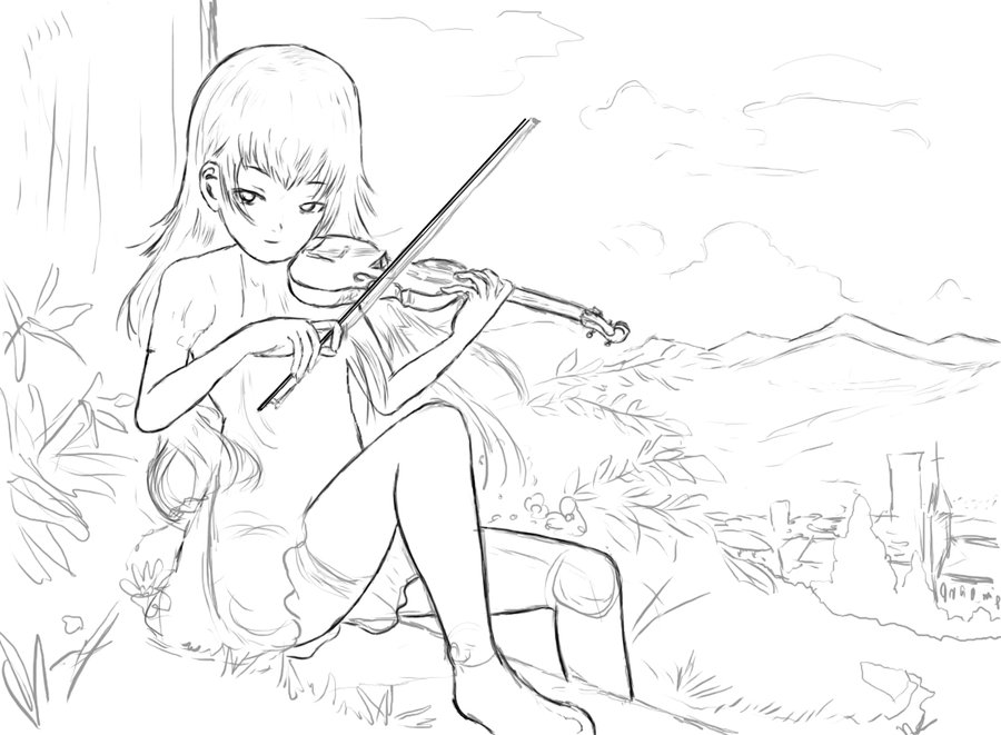 900x661 Anime Violin Girl Sitting On A Hill (Unfinished) By