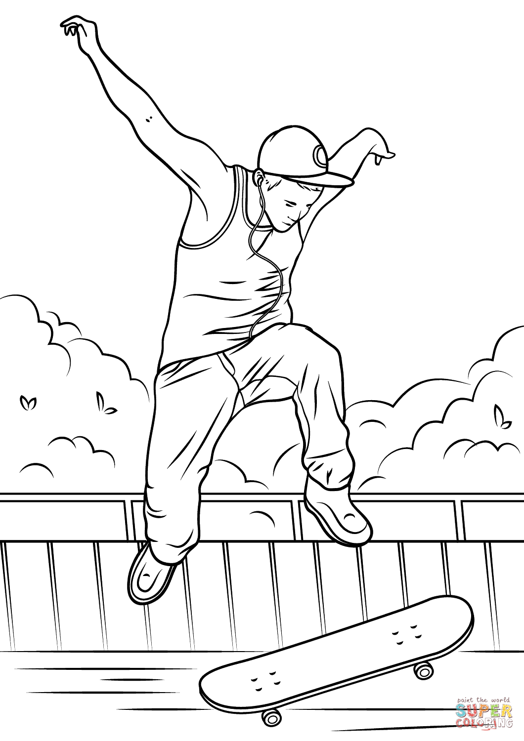 1060x1500 Skateboard Jump Coloring Page Free Printable Coloring Pages
