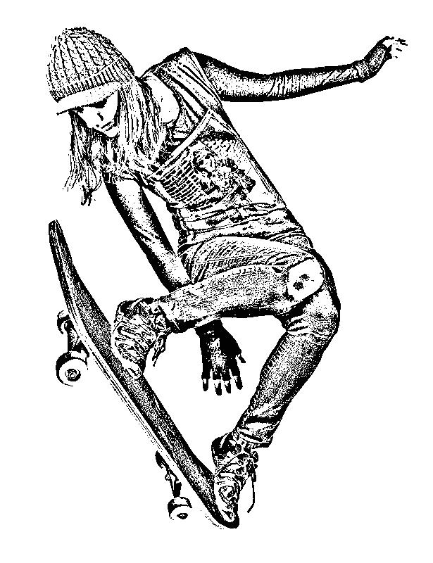 615x800 Skateboarder Girl Sketch