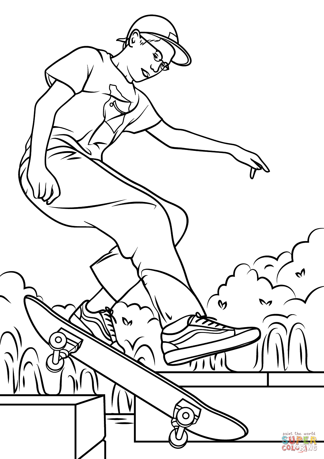 1060x1500 Boy Skateboarding Coloring Page Free Printable Coloring Pages
