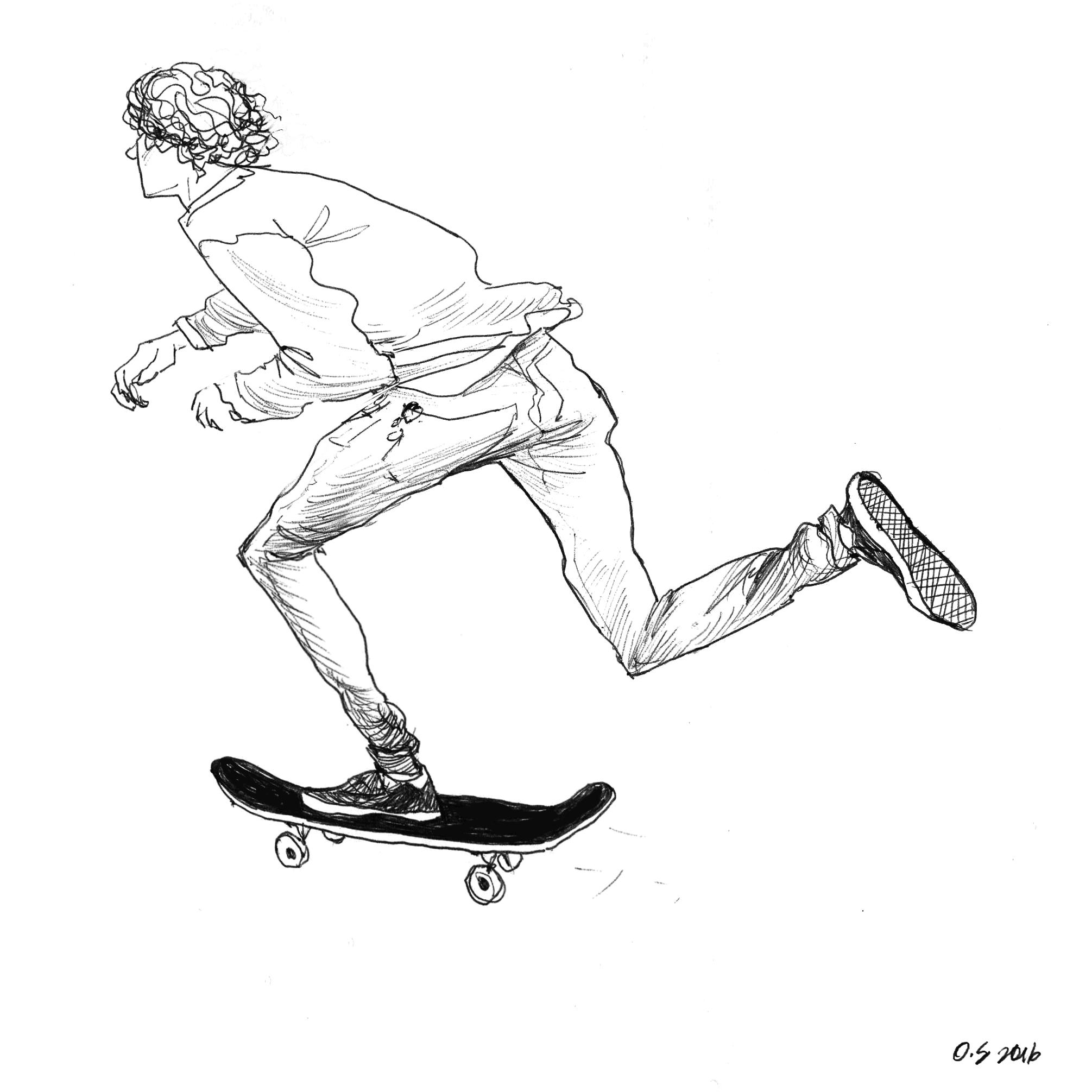 2011x2011 Sketchbook. Skate. Illustration. Longbaord