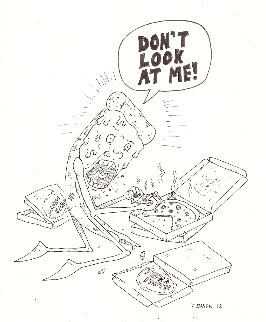 1026x1239 Pizza Eating Pizza Drawing By Ben Jensen Pizza