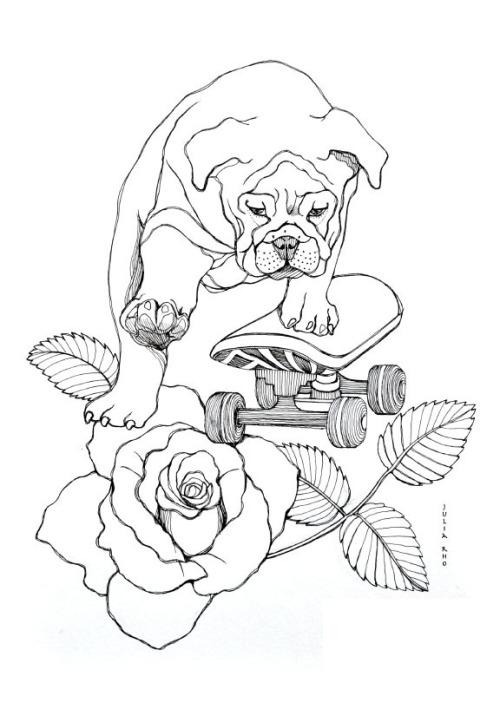 500x703 Bulldog Skateboard Drawing Tumblr