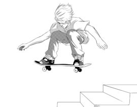 270x210 Drawing Of Skateboarder Doing Trick With Special Shoe Design