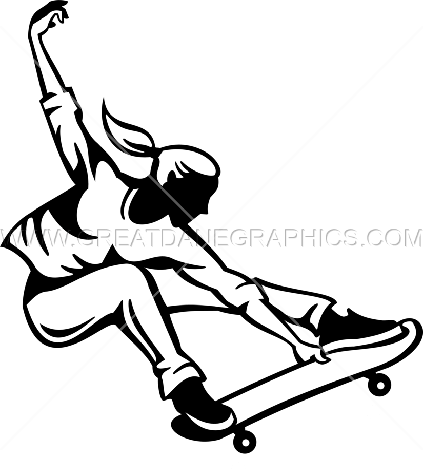 825x927 Female Skateboarder Trick Production Ready Artwork For T Shirt