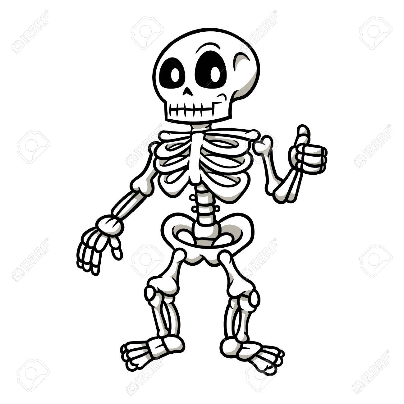 1300x1300 Cartoon Skeleton Giving A Thumbs Up Vector Illustration Royalty