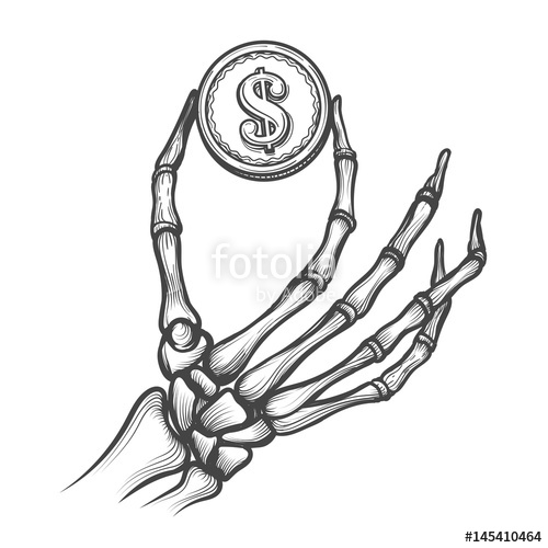 500x500 Skeleton Hand With Coin Hand Drawn Vector Illustration. Bones