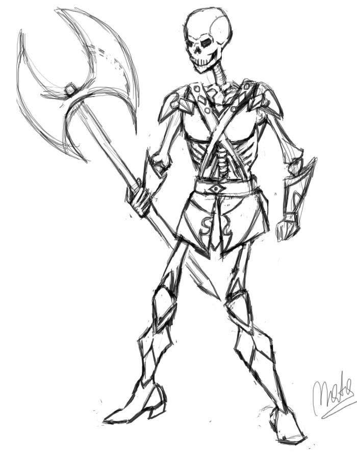 700x904 Skeleton Enemy Sketch By Matarioshka