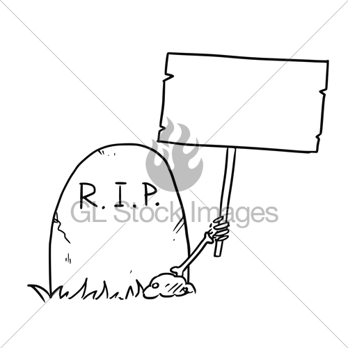 500x500 Vector Cartoon Of Skeleton Arm Is Sticking Out Of The Gra Gl