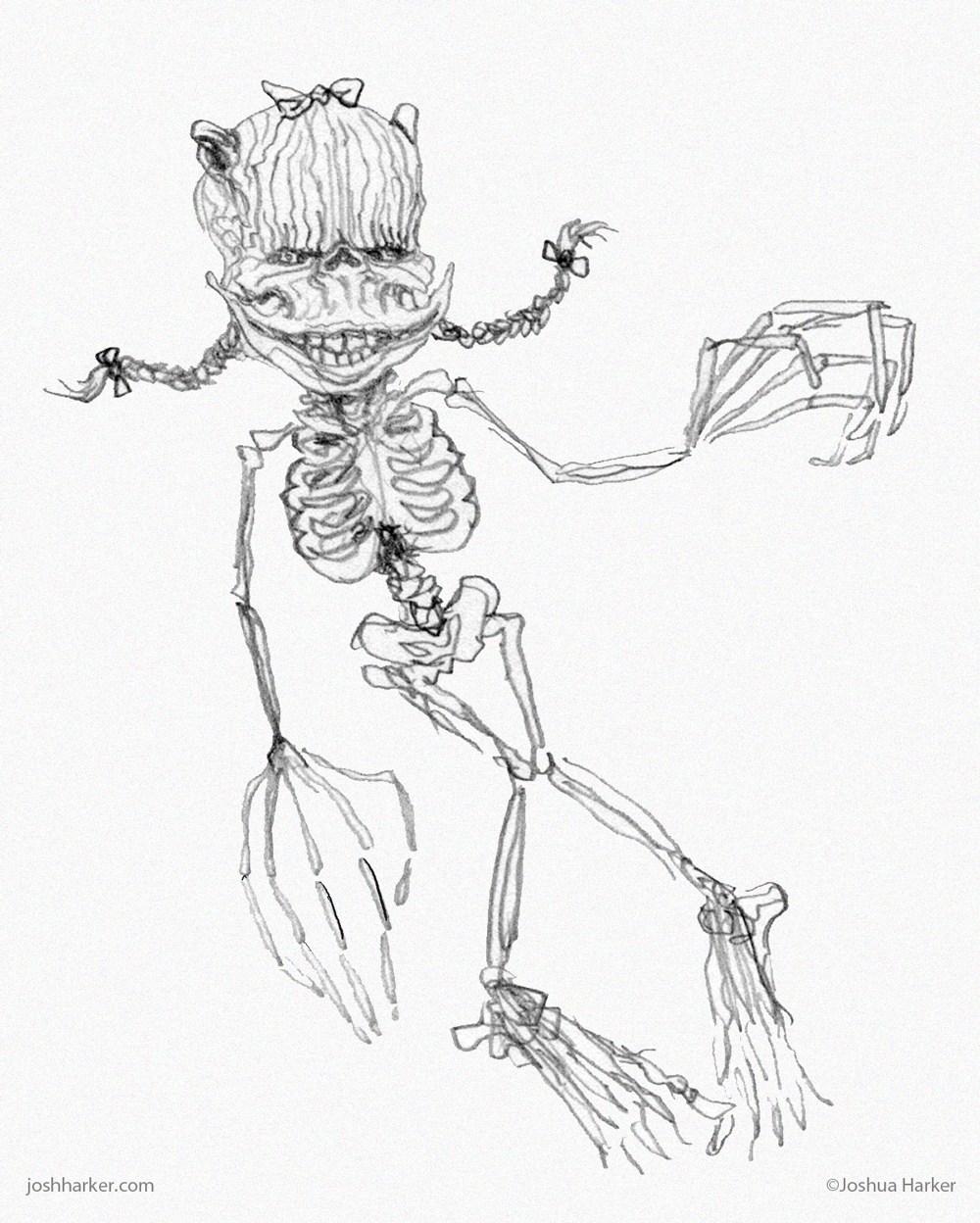 1000x1248 Skeleton Girl Joshua Harker