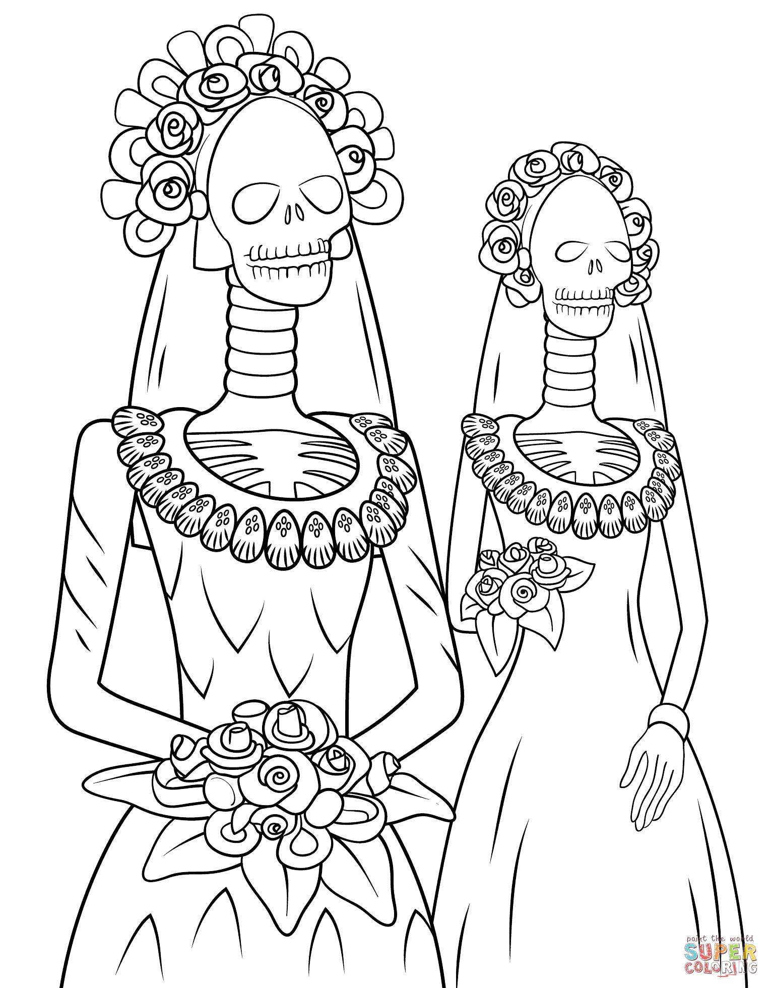 1526x1961 Day Of The Dead Skeleton Brides Coloring Page Free Printable