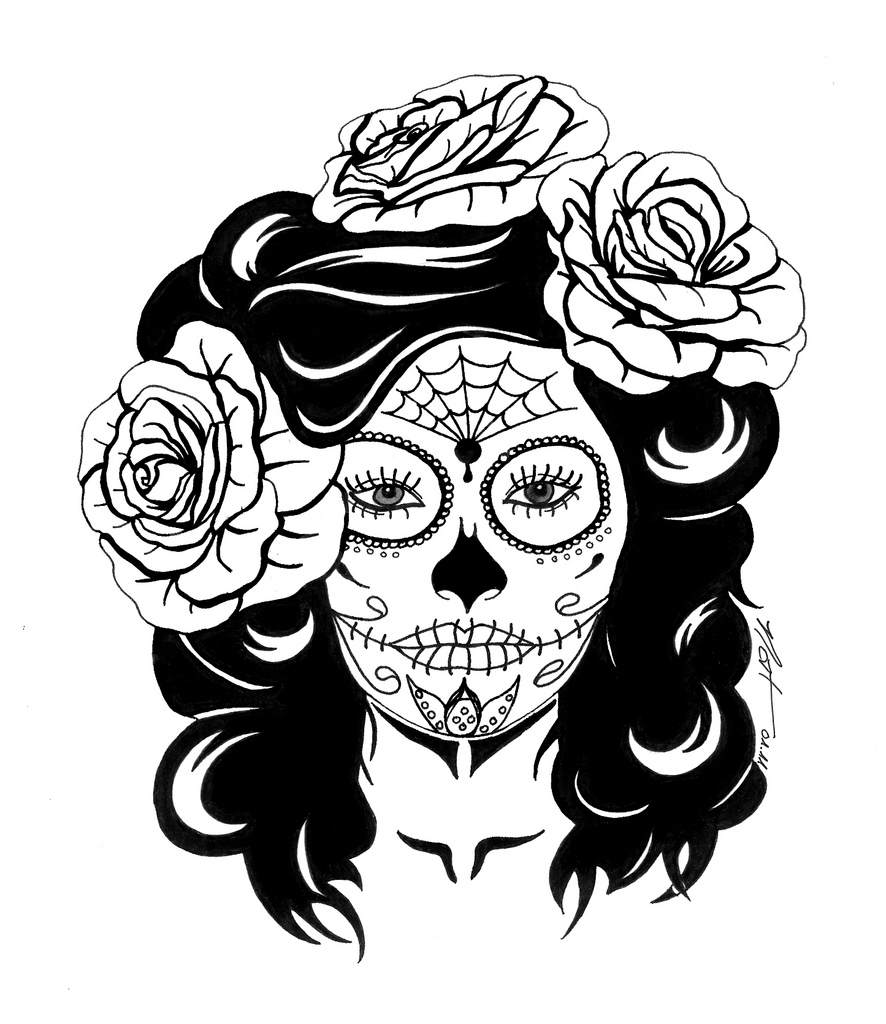 886x1024 Sugar Skull With Roses Skulls Cricut And Adult Coloring
