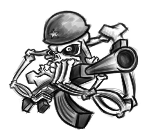 500x438 Cartoon Skeleton Soldier Sketch Revised Soldier Skeleton