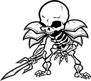 302x268 Deluxe Cartoon Skeleton Drawing How To Draw Skeleton Warrior Step