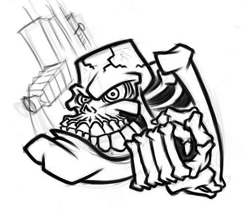 500x422 Evil Cartoon Skeleton With Gun Initial Sketch