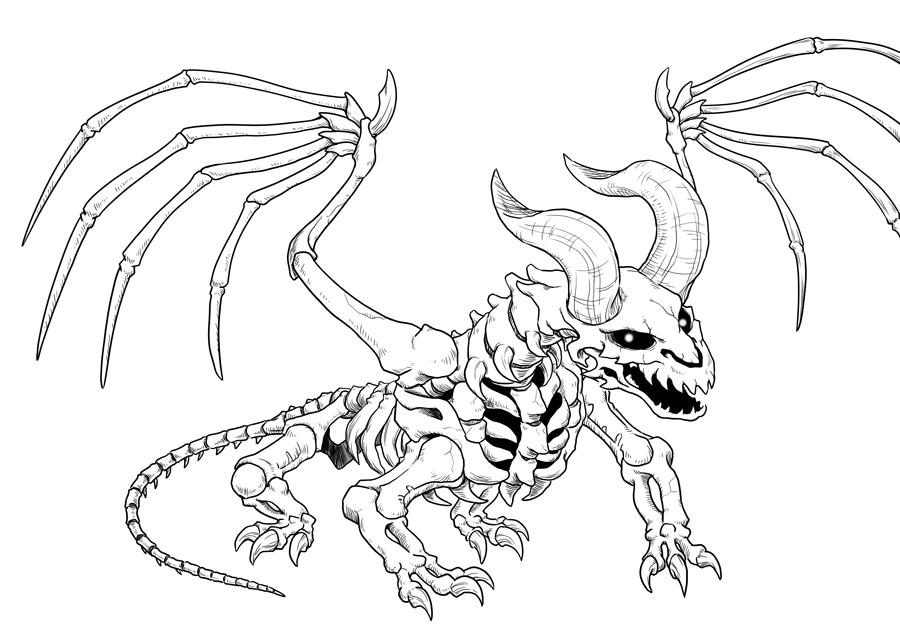 Skeleton Dragon Drawing