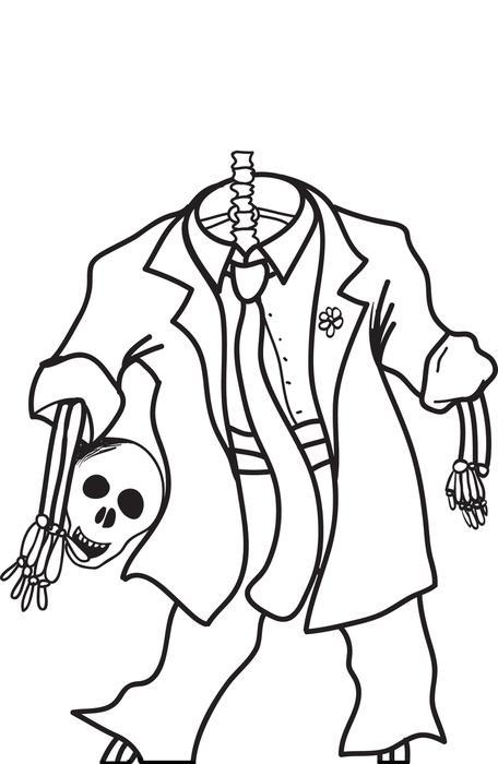 456x700 FREE Printable Halloween Skeleton Coloring Page For Kids