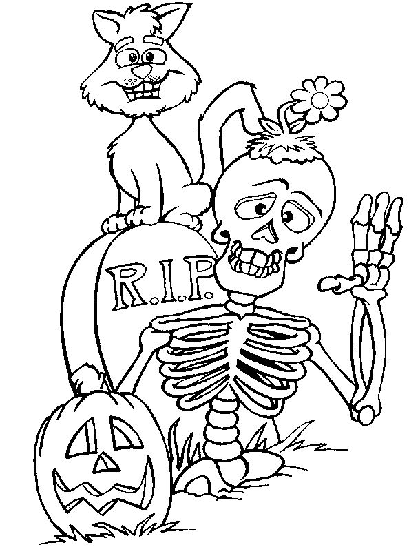 594x794 halloween skeleton drawing fun for christmas - Halloween Skeleton Coloring Pages