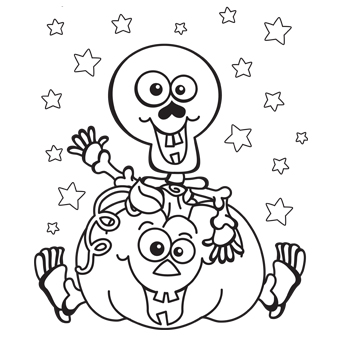 680x880 skeleton halloween coloring page 340x340 skeleton pumpkin - Coloring Pages Of Halloween