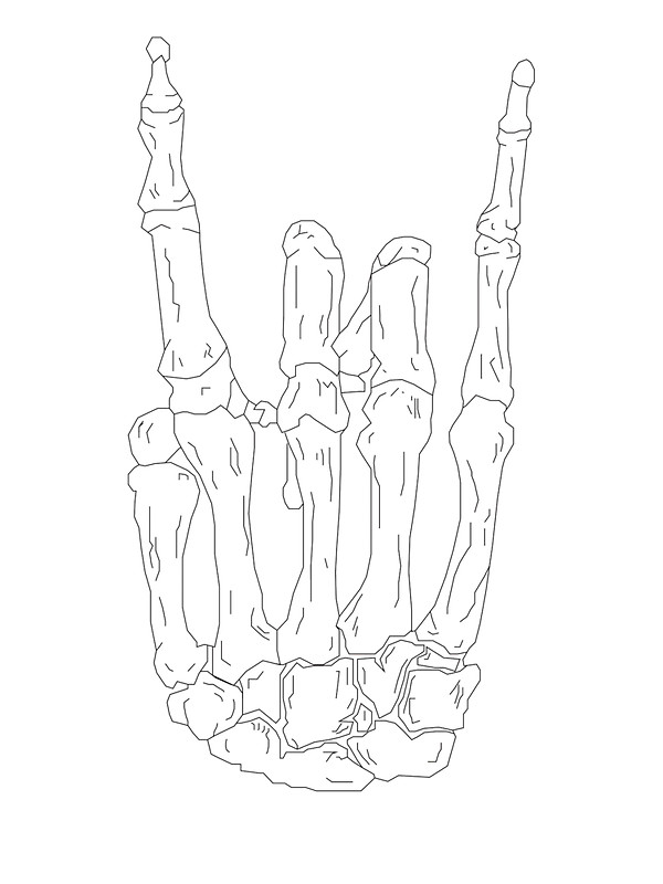600x800 Rock On Skeleton Hand Stickers By Danibourland Redbubble