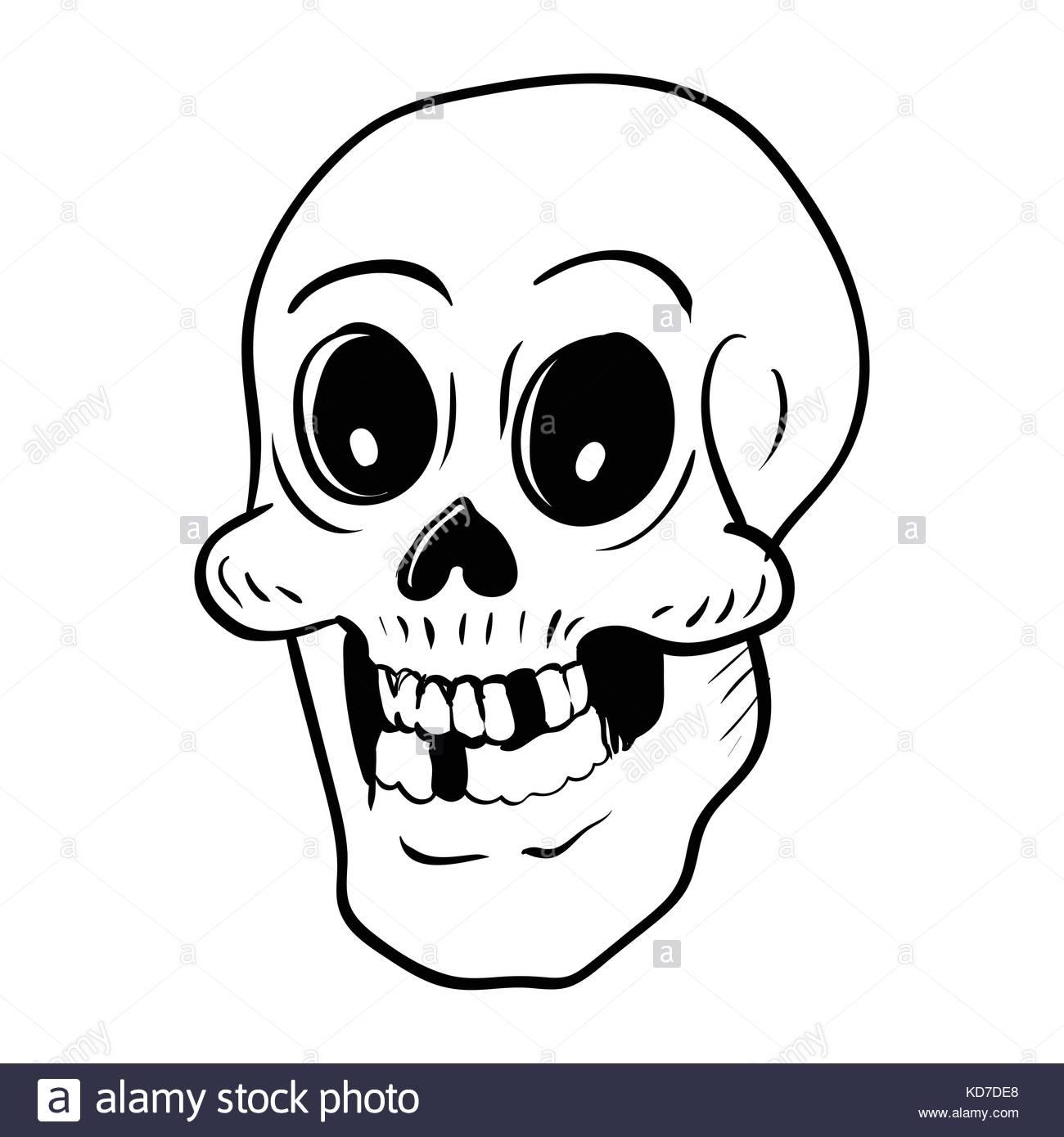 1300x1390 Hand Drawing Skull Head Cartoon For Halloween Concept, Isolated