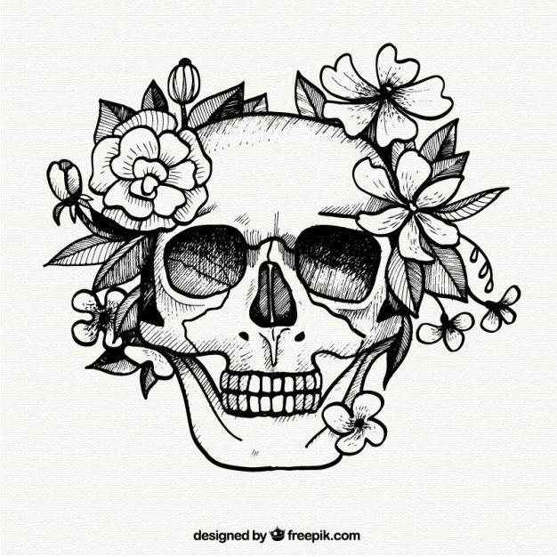 626x626 Hand Painted Skull And Flowers Vector Free Download