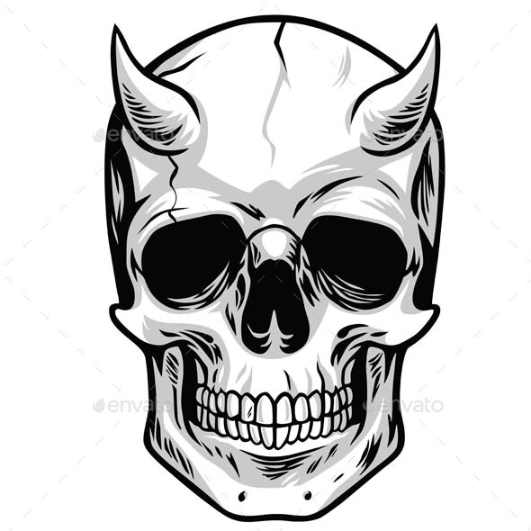 590x590 Demon Head Skull Vector Illustrators