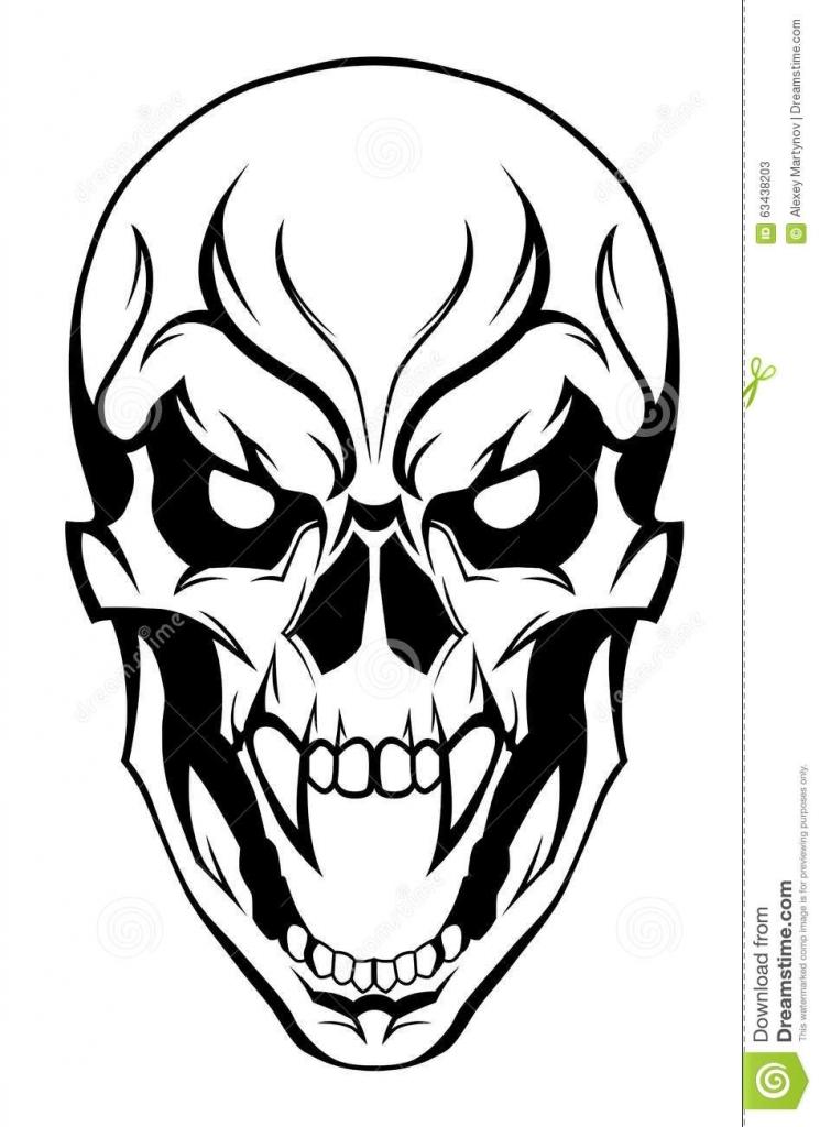 745x1024 Evil Skull Drawing Evil Skull Stock Vector Image 63438203